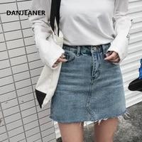 danjeaner vintage preppy style summerjeans skirts women high waist blue a line mini denim skirts high street sexy pencil skirts