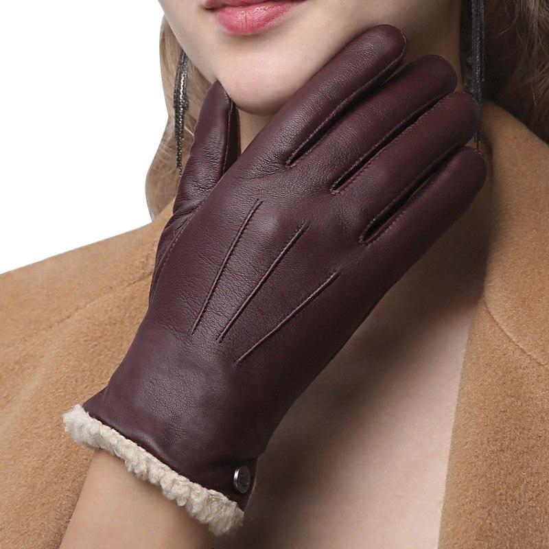 Guantes de mujer de cuero genuino de alta calidad otoño invierno más terciopelo moda Slim mano piel de oveja cálida guantes mujer NW181-55