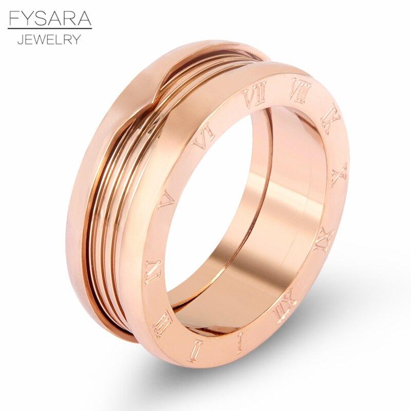 FYSARA, anillos de Primavera de imitación con letras de Número Romano de lujo para mujer, joyería para parejas, anillo de amor de acero inoxidable de 7mm para hombre