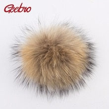 Geebro 1 PCS 15 cm Genuine Natural Raccoon Fur Pompoms Big Fur Balls For Winter Beanies Scarf Access