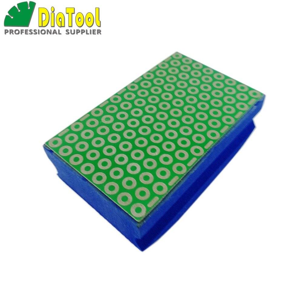 DIATOOL, 1 unidad, G #800, almohadillas de pulido galvanizadas recubiertas de diamante, 90X55MM, bloque de pulido con respaldo de espuma dura