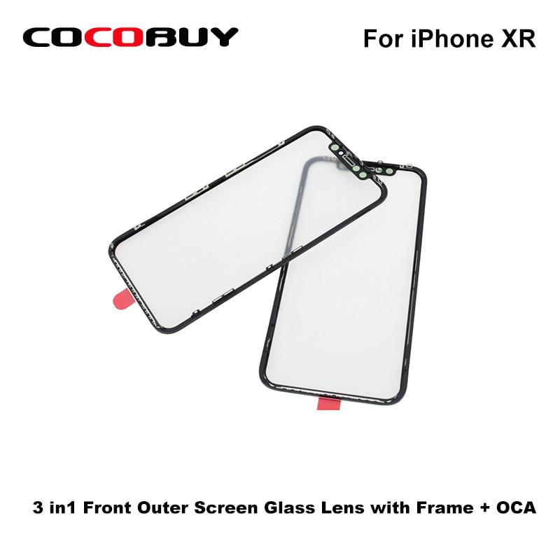 Alta quatily 3 in1 frente exterior lente de vidro da tela com moldura + oca para iphone xr novecel vidro frontal aaa a +