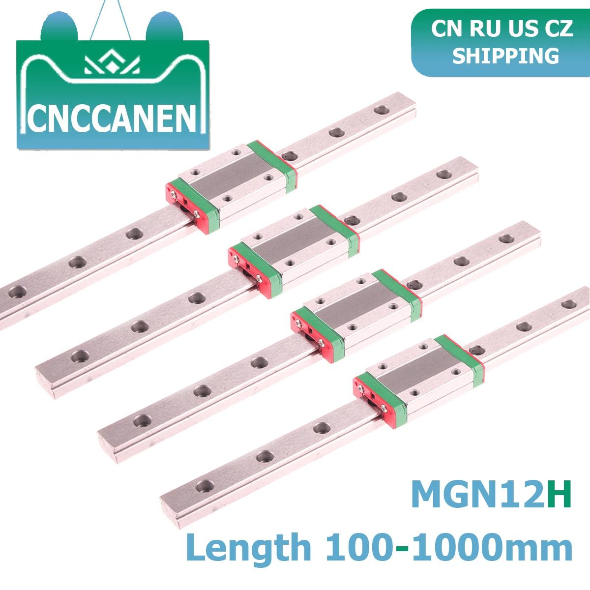 Peças cnc mgn12 100 350 450 500 800 1000mm diminuto trilho linear slide 4 peças guia linear mgn + 4 peças mgn12h transporte impressora 3d