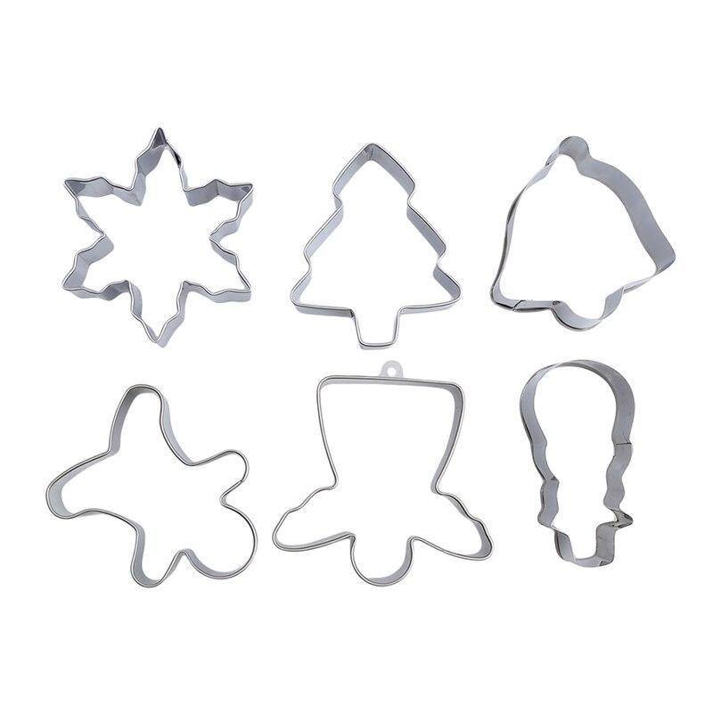 2019 árbol de decoración de Navidad FORMA DE Snoman Moldes de acero inoxidable cortador de galletas de Metal moldeado Fondant torta herramientas galleta molde