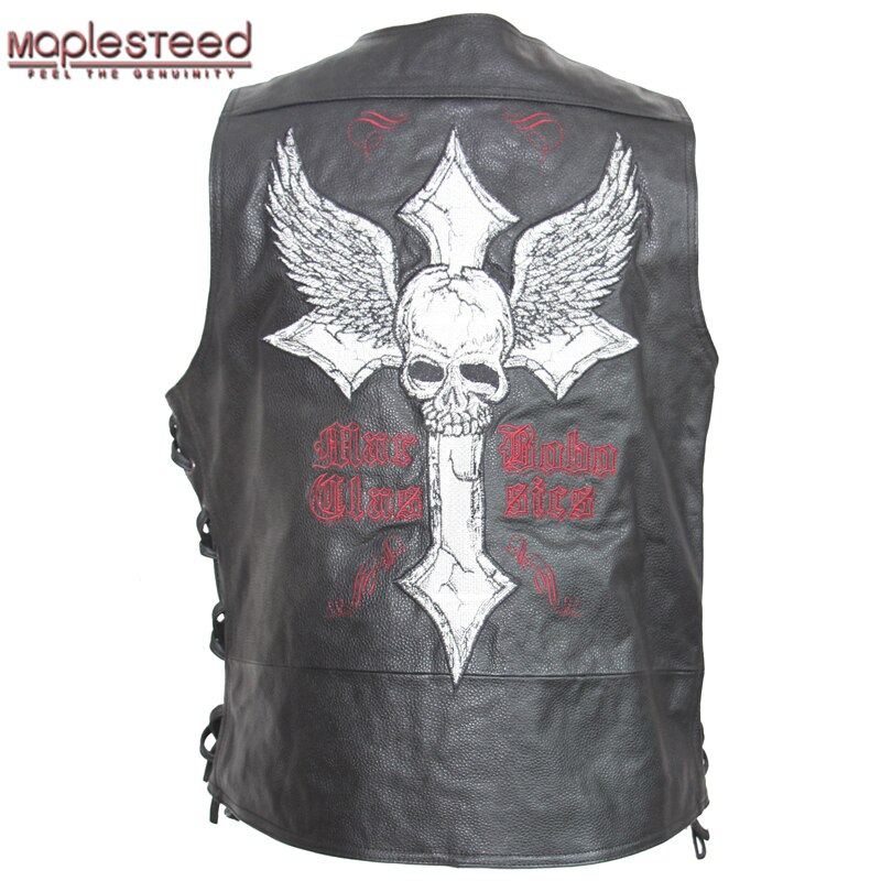 MAPLESTEED cuir gilet Moto broderie crâne naturel peau de vache Moto gilet Biker gilet en cuir veste sans manches 127
