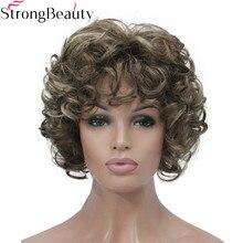 Forte beauté courte bouclés perruques cheveux synthétiques Capless femmes perruque