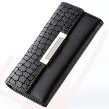 Portefeuille femme portefeuilles femme en cuir véritable pierre femme long portefeuille pour téléphone/cartes sacs dargent dame portefeuilles sac à main