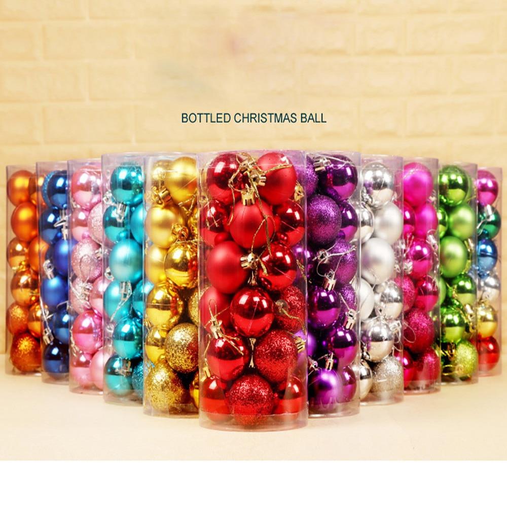 24 pçs/lote 30mm Decoração do Partido Bola Ornamento de Suspensão Da Árvore de Natal Bugiganga Pingente Gota de Presente decorações de Natal para Casa