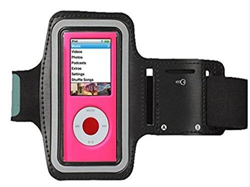 Brazalete MP3, apto para Apple Ipod Nano 4ª generación u otro reproductor mp3 Jogging/brazalete de gimnasio con ranuras de doble brazo y bolsillo para llaves