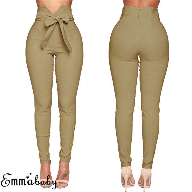 Moda Mujer Pantalones casuales de cintura alta moda señoras Bowknot Long Slim Skinny pantalones vendaje elástico lápiz pantalones con fajas