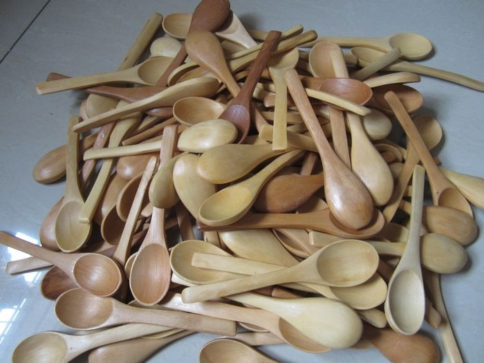 100 Pieces Small Wood Coffee Tea Spoon 13*2.8cm Wooden Sugar Salt Jam Mustard Ice Cream Honey Spoons Handmade Natural Stirrer