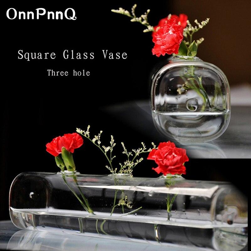 Florero de vidrio cuadrado de mesa OnnPnnQ 3 orificios flores de vidrio transparente Decorativo Europeo sala de estar dormitorio estudio balcón jarrones de vidrio
