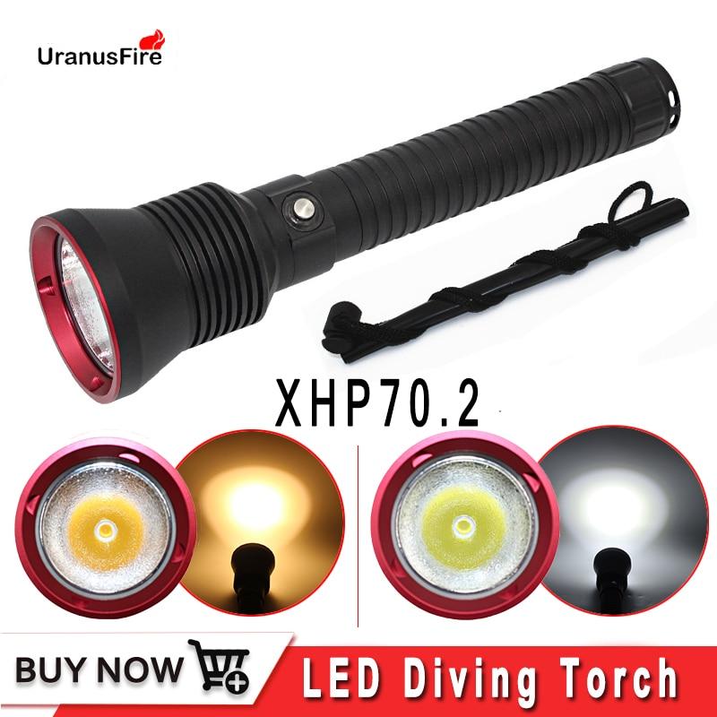 Xhp70.2 lanterna de mergulho led, poderosa, luz subaquática, 26650, à prova d água, cr xhp70, lâmpada de 4200 lúmens