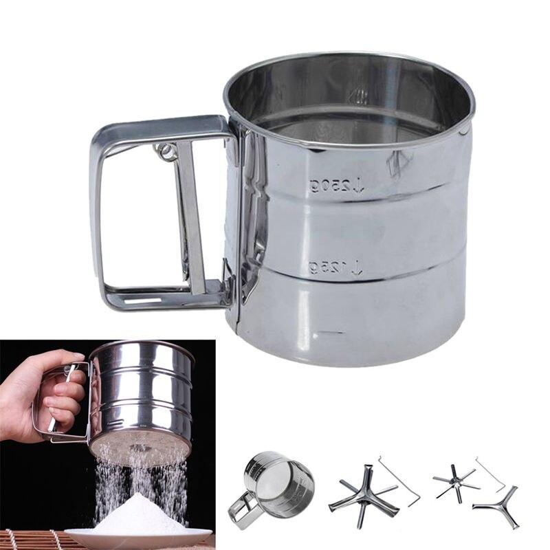 Nowe narzędzia do pieczenia ze stali nierdzewnej proszek filtr siatkowy przesiewacz sito do przesiewania mąki siatki Shaker