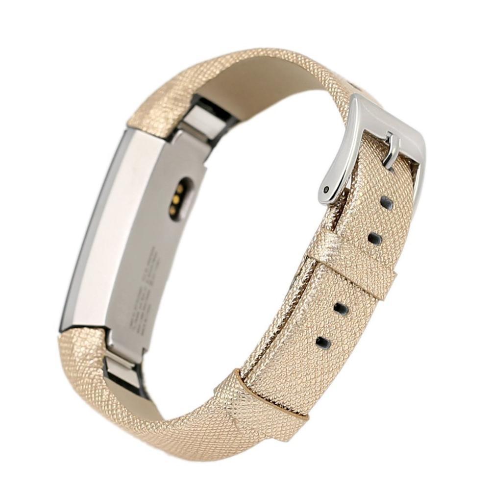 Bandas Fitbit Alta, ouro pulseira de Couro Genuíno fivela de metal, substituição de Couro Faixa de Relógio para FitbitAlta Fácil para substituição