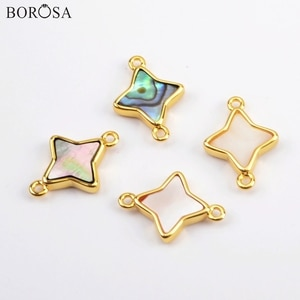 BOROSA 10Pcs Fashion Star Gild Natural White Shell Abalone Shell Connector Natural Shell Double Charms for Necklace DIY WX1173