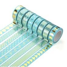 1PCS Pink & Green Foil Washi Tape 15mm*10m Kawaii Decoration Tools Hot stamping Diary Decorative Washi Tape Tearable Tapes JD20