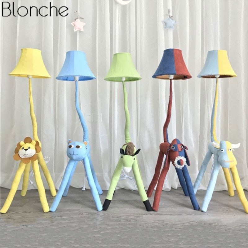 Modern Cartoon Animal Floor Lamp for Children's Kids Room Bedroom Fabric Lamp Shades Stand Led Standing Light Fixture Home Decor