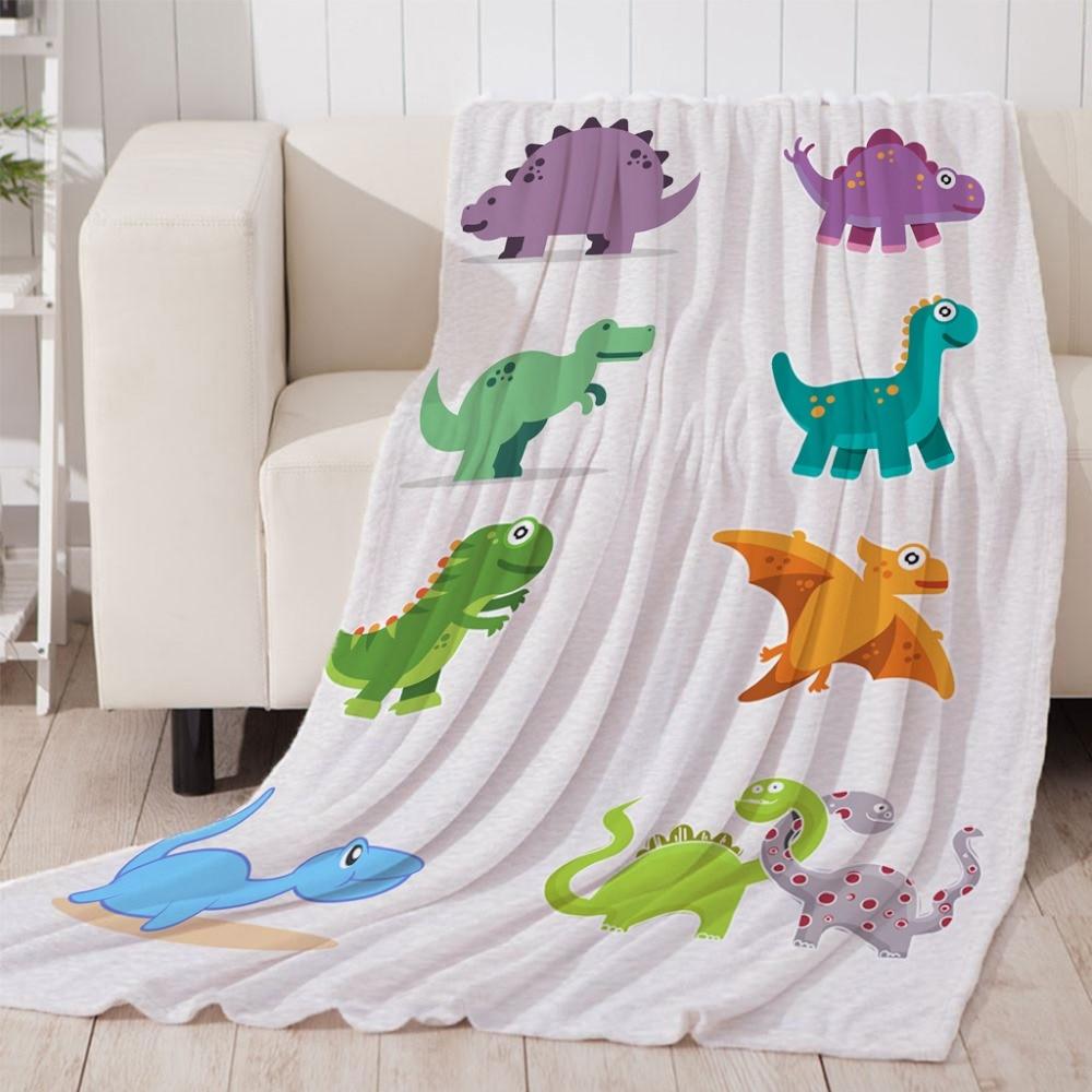 3D Cartoon dinosaur  Blanket For Bed Super Soft Throw Blanket Art Beach Towel Throw Travel Bedspread Cartoon Beds Thin Quilt