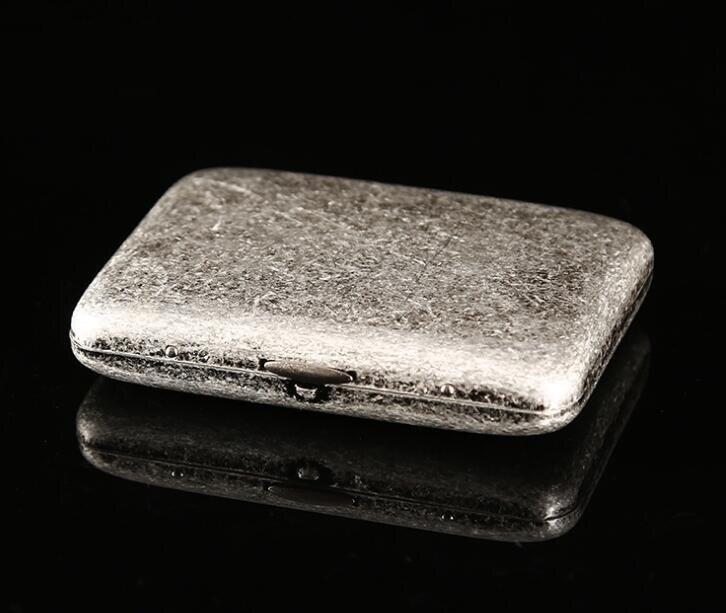 antique silver Vintage Classic Cigarette Box High Quality metal Cigarette case for 16pcs cigarettes slim retro Tobacco Holder enlarge
