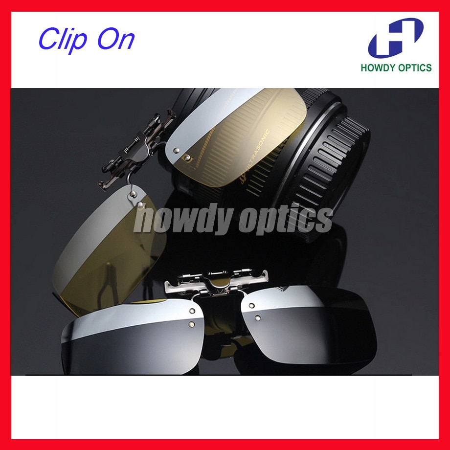 20pcs Free Shipping Driving Glasses Eyeglasses Sunglasses Polarized Clip On Sunglass With 2 Colors On One Lenses