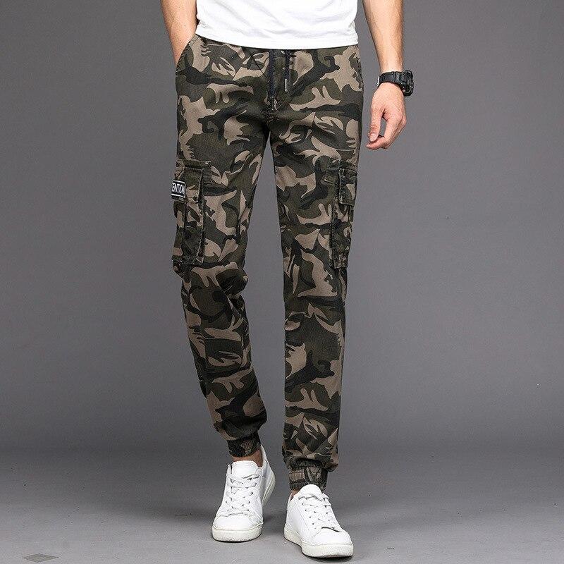 Pantalones de camuflaje para hombre Multi bolsillo ejército militar Cargo pantalones camuflaje táctico pantalones ajustados para hombres bonito nuevo vogue con bolsillos