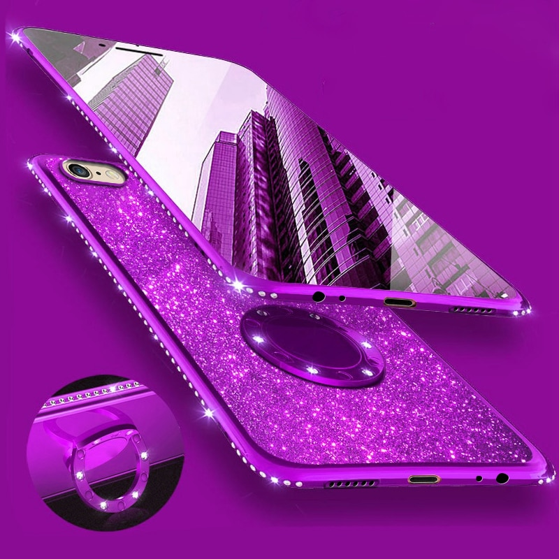 Bling do Diamante de Silicone Suave Caso Capa para o Samsung Galaxy S8 S8Plus S9 Plus S7 Borda 8 A5 2017 Nota Telefone casos Strass