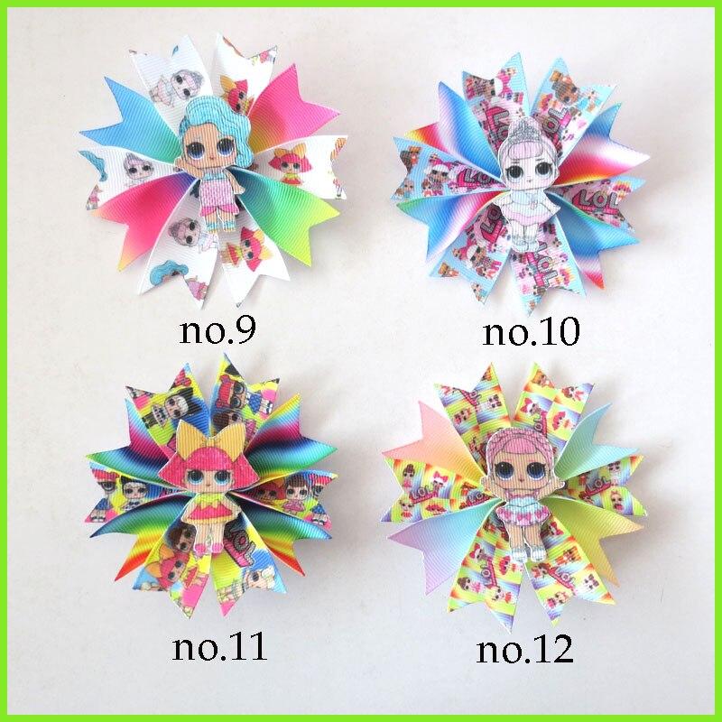 "50 BLESSING Girl Popular 3,5 ""pinza de lazo de pelo de hadas muñeca Joyful Rainbow Baby"