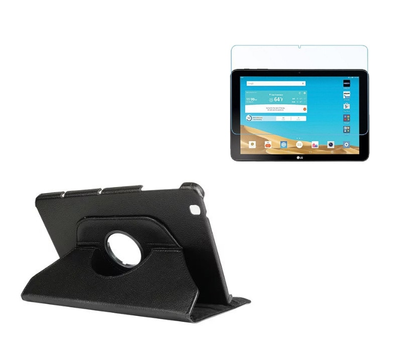 1 * Protector de pantalla transparente, Funda de cuero PU giratoria de 360 grados soporte para LG G Pad 2 GPad II 10,1 V940 V935 Tablet