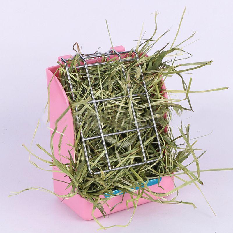 Pequeño conejo para mascotas alimentador de heno Rack fijo primavera estante para hierba hámster holandés cerdo Chinchilla Animal estante para comida suministros de cuencos C42