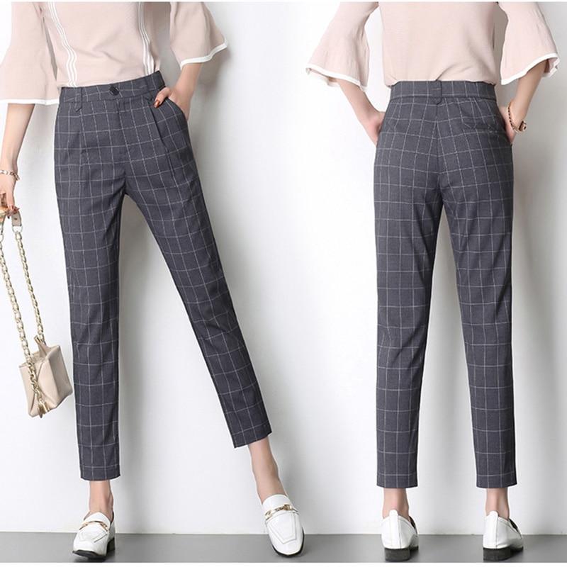 Harem Pants S-3XL Plus Size 2018 High Waist Casual Spring Summer Woman Office Pant Vintage Plaid Pants Trousers