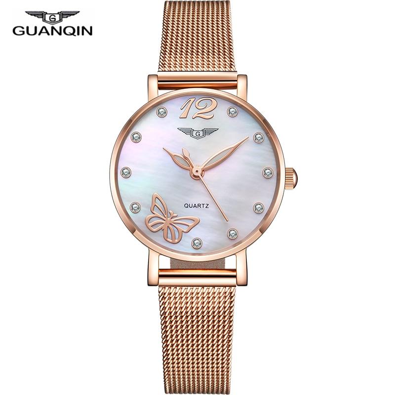 GUANQIN 2019 women watch dress rose gold waterproof fashion ladies watches top brand luxury girl quartz clock relogio feminino