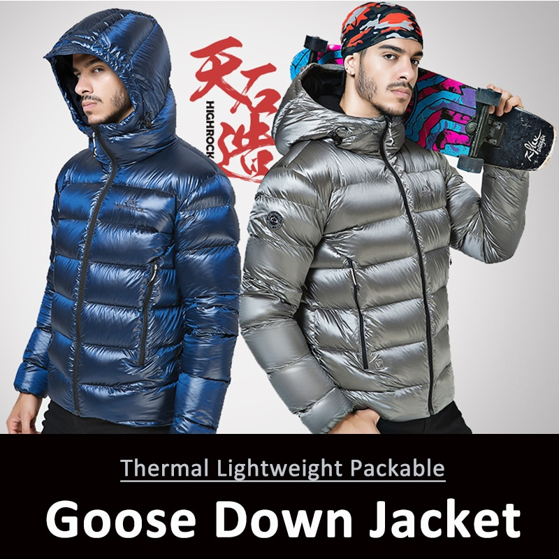 Chaqueta de invierno para senderismo y deportes al aire libre, chaqueta de plumas de ganso ultraligera 90%, chaquetas con capucha de manga larga, prendas de vestir cálidas
