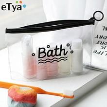 eTya Travel Cosmetic Bags PVC Waterproof Transparent Women Portable Make Up Bag Toiletry Organizer S