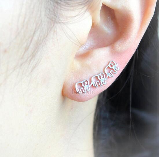Daisies One Piece Elephant Ear Climber Pin Earrings For Women Animal Jewelry Stud Earrings