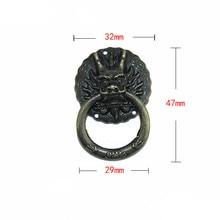Poignée de porte en alliage de Zinc   Meubles tête de Dragon Vintage, poignée de traction de porte, commode, boutons de tiroir, petite poignée, 32*47mm,1 pièce