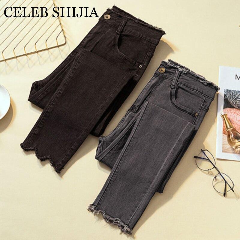 2019 Jeans para mujer pantalones ajustados de talla grande de alta elasticidad gris lápiz pantalones para señora Donna verano otoño negro Mujer Pantalones denim
