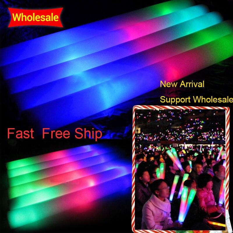 100 unids/lote Barra de brillo de espuma colorida Barra de brillo con LED fluorescente Rally Rave Cheer Tube Baton varitas fiesta Festival Light Stick