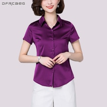 Feste Fashion Formal Büro Bluse 2018 Neue Sommer Kurzarm Damen-oberteile Dünne Dünne Damen Shirts Korean Stil Blusas Feminina