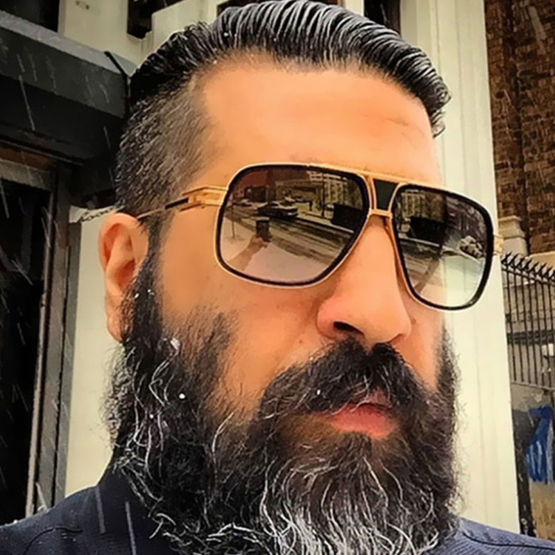 2020 Hot Couple Flat Top Luxury Driving Sunglasses 18K Gold Big Frame Square Women Sunglasses Shades Brad Pitt Men Sun Glasses