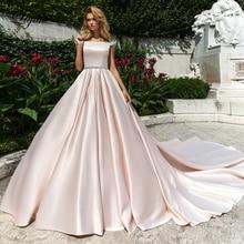 Liyuke  Elegant Pink Satin A-Line Wedding Dress With Boat Neck Short Sleeve Wedding Gown