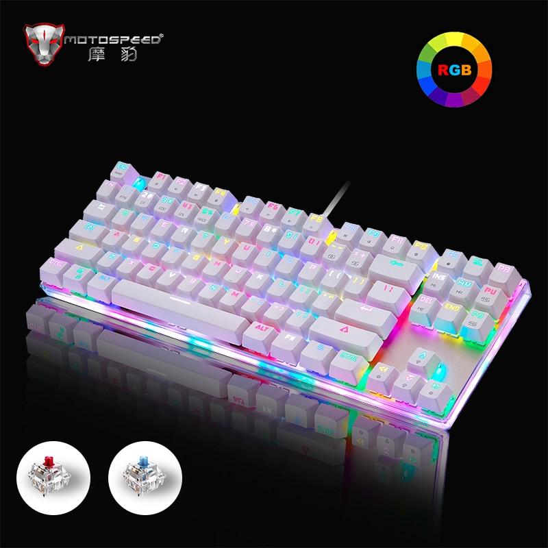Genuine Motospeed K87S Gaming mechanical keyboard 87 keys Russian/English layout  RGB backlight blue/red switch wired keyboard