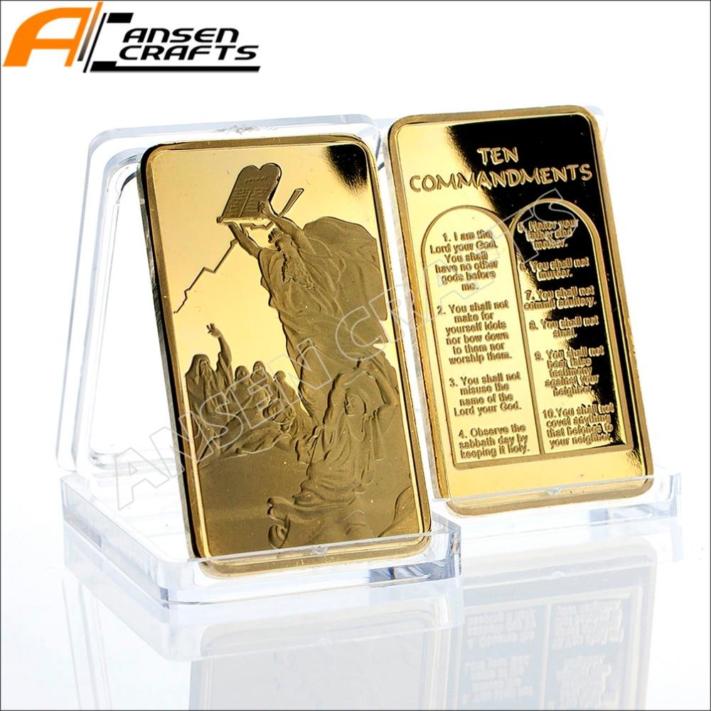 Moses on the Mountain Sinai Gold Ingot Bullion Bar with Ten Commandments Jewish TANAKH