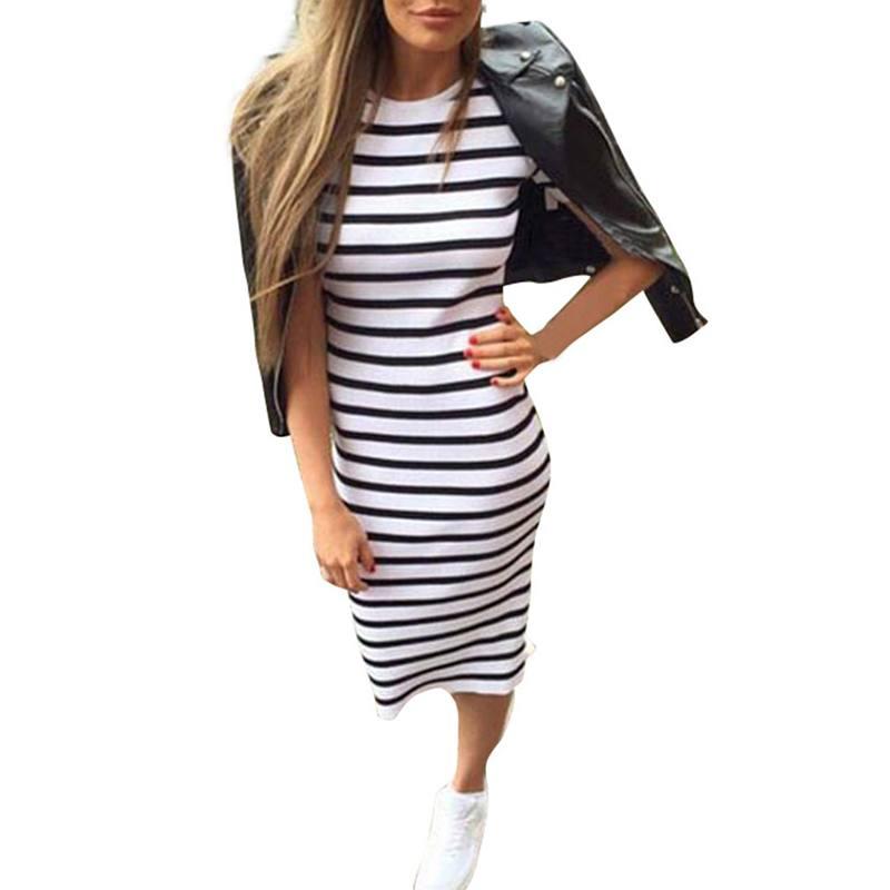 Woman Stripe Long Maxi O-Neck Collar Dress Boho Sexy Satin Slips Fashionable Dress Women Summer Vesdios