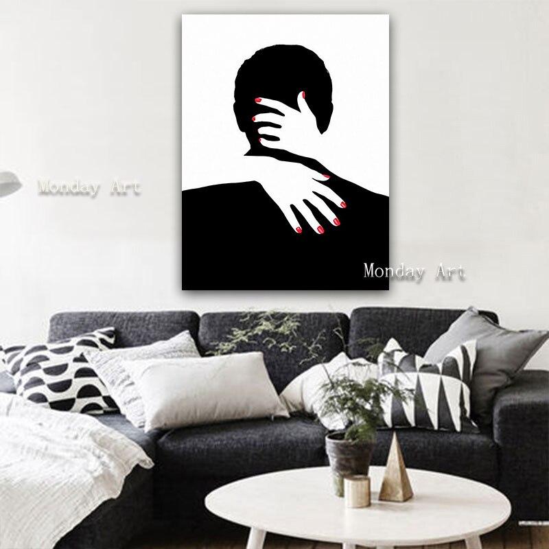 Pintura al óleo hecha a mano caliente pintura al óleo abstracta Sexy desnuda abrazando fotos de pareja foto del cuerpo de las señoras dormitorio decoración de pared arte pintura