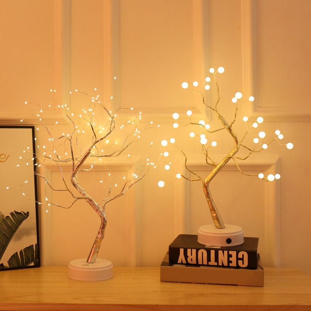 Night Light Home Decoration Bonsai Style Party Cherry Tree Shape LED Light DIY Firework Christmas Gift Plants Switch Copper