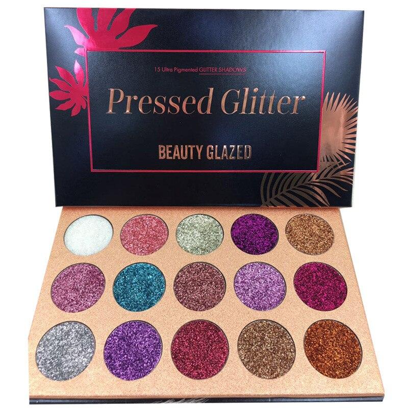 Палитра теней для век 15 цветов, глазурованные Блестки для макияжа, палитра алмазных косметических магнитов