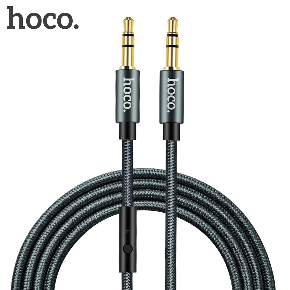 Аудиоразъем HOCO с разъемом 3,5 мм и штекером с микрофоном, Кабель AUX для всех смартфонов, автомобильный сабвуфер, динамик MP3/4, 1 м