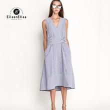 Runway Dresses 2017 Women High Quality Midi Dress Stripes Midriff Dress