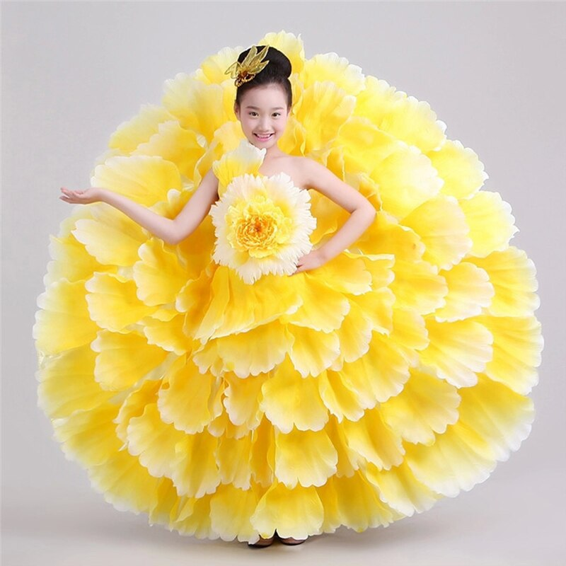 اسبانيا تنورة رقص البتلة تنورة الأطفال المرحلة الأداء خدمة الأطفال ازياء الفتيات افتتاح الرقص كبيرة تنورة DL2885